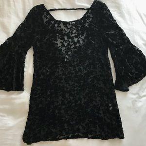 Free People Black Velvet Dress with Open Back